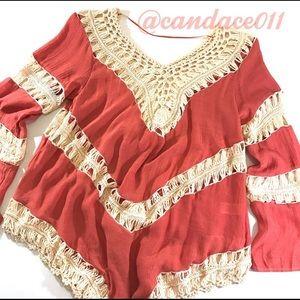 Boho Crochet Tunic Top